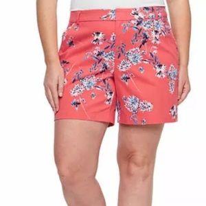 "A.N.A. Plus Pink Joanna Floral 7"" Twill Shorts 24W"